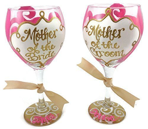 SET OF 2 Hand Painted Mother of the Bride and Mother of the Groom Personalized Wine Glass Wedding Hot Pink and - Party Personalized Wedding Glasses