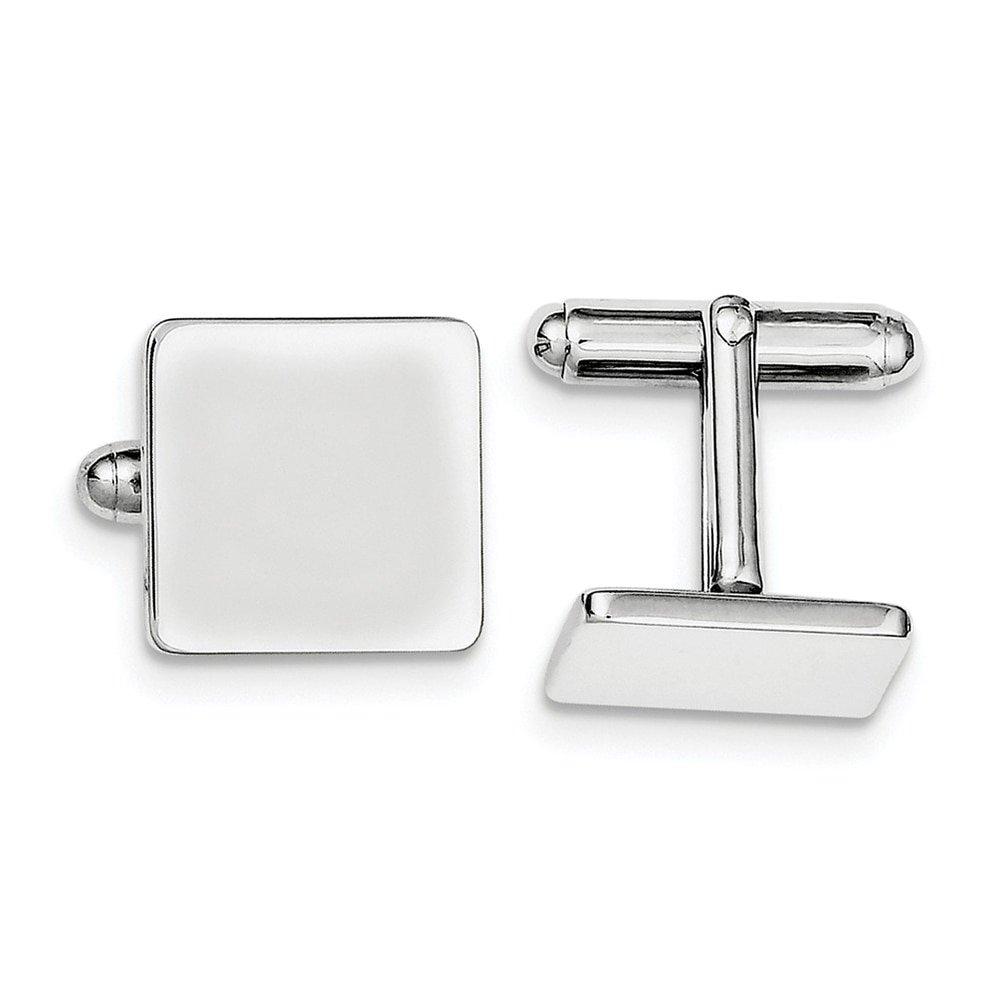 Lex /& Lu Sterling Silver w//Rhodium Square Cuff Links LAL116506