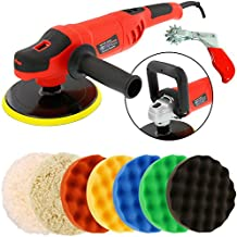 """TCP Global Powerful 7"""" Variable Speed Polisher with Digital RPM Display with 6-Waffle Foam Polishing Pads"""