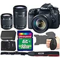 Canon EOS 70D DSLR Camera Bundle with Canon EF-S 18-55mm f/3.5-5.6 IS STM Lens + Canon EF-S 55-250mm f/4-5.6 IS STM Lens + 32gb Memory SD Card + Grip Strap - International Version (No Warranty)