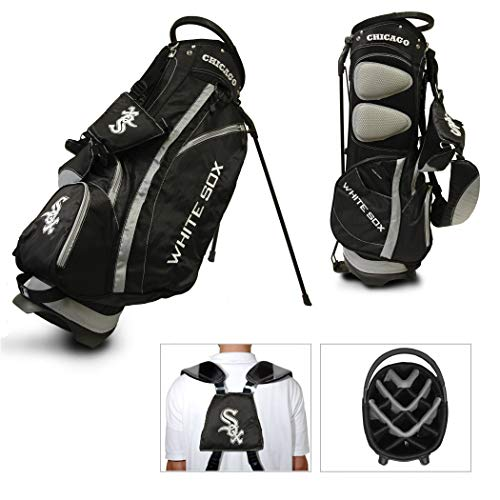 Team Golf MLB Chicago White Sox Fairway Golf Stand Bag, Lightweight, 14-way Top, Spring Action Stand, Insulated Cooler Pocket, Padded Strap, Umbrella Holder & Removable Rain Hood (Renewed) ()