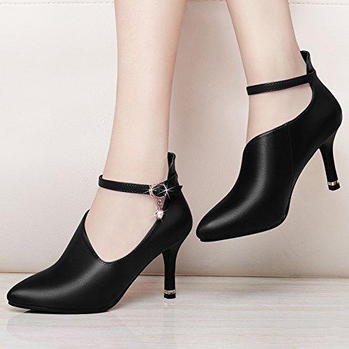 KHSKX-Neue Herbst Einzelne Schuhe Schwarze Schuhe Frauen Nur Ferse Hochhackigen Frauen Schuhe Sagte Lady Koreanischen Version Thirty-seven