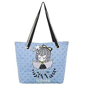 Chenson bolso escolar grande para niña color azul con negro linea Anita Mejia