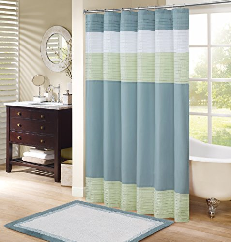 Comfort Spaces Windsor Bathroom Shower Pieced Ruffle Pattern Modern Elegant Microfiber Fabric Bath Curtains, 72