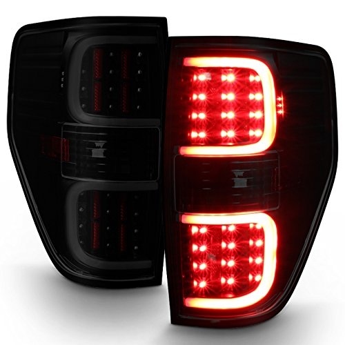 For 2009-2014 Ford F150 F-Series Black Smoked Lens Dual C-Shape LED Tube Tail Brake Light Lamps