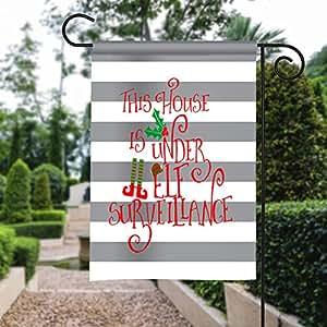 Garden Flag - House Under Elf Surveillance - Fall Garden Flag Monogrammed 12 By 18 Custom Yard Flag Gift Home Decor Outdoor Accessories
