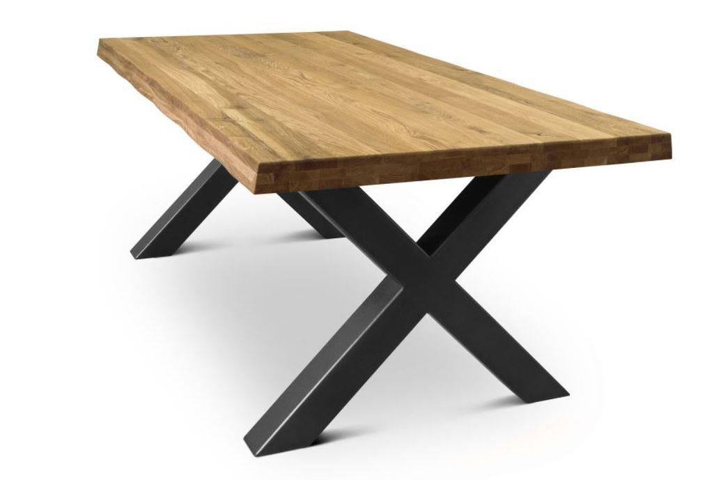 COMIFORT Mesa de comedor moderna de Roble macizo y Patas de acero X-forma 140x75