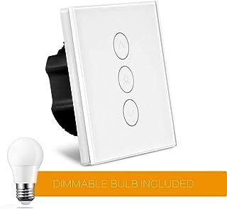 [Upgraded] Gradateur Intelligent Avec Ampoule à Gradation, Variateur De lumière Mural NOTSEK WiFi Touch Compatible Avec Alexa/Google Home/IFTTT, Fonction De Compensation, 1 Prise, 2A 150W, Blanc