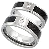 2-Ring Set 6 & 8mm Tungsten Diamond Wedding Ring Him & Her Blue Carbon Fiber Beveled Comfort fit, size 7.5