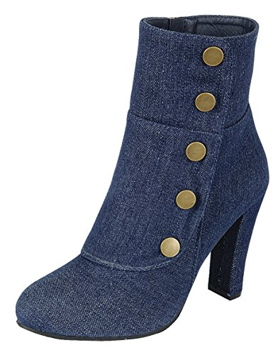 Cambridge Select Women's Victorian Steampunk Side Button Chunky Heel Ankle Boot (5 B(M) US, Dark Blue Denim) - Heel Button