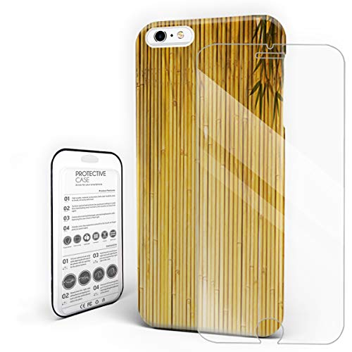 Protective Phone Case for iPhone 6 plus/6s Plus Case Cover, Yellow Bamboo Bwith Tree Branches Exotic Plants Zen Peaceful Art,Shockproof Anti-Scratch Hard Case with Tempered Glass Screen Protector