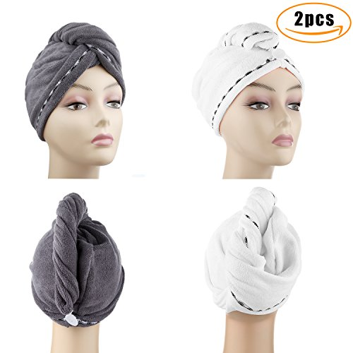 Microfiber Hair Turban (Microfiber Hair Drying Towels, Fast Drying Hair Cap, Long Hair Wrap,Absorbent Twist Turban, White, Dark Gray (2 pack) …)