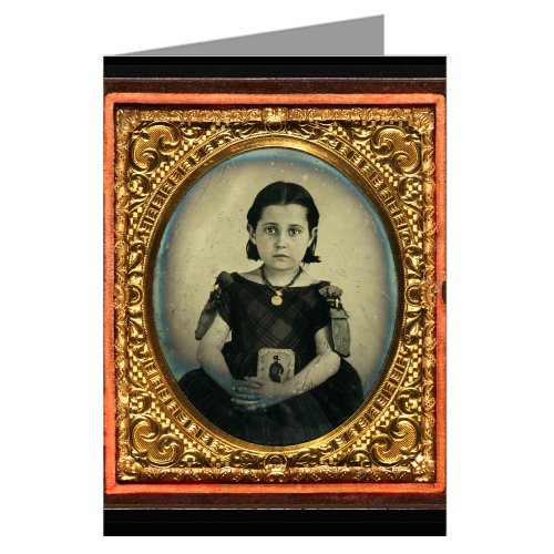 6-vintage-greeting-cards-of-girl-in-mourning-dress-holding-framed-photograph-of-her-father-as-a-cava