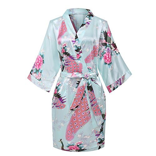Price comparison product image Kissria Women's Kimono Robes Peacock and Blossoms Short Style Silk Nightwear