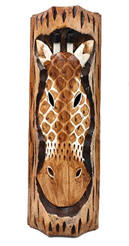 Brick Red Shed Giraffe Wall Decor, Hand Carved Wooden Sculpture