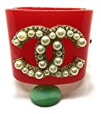 K C Luxury Woman Red Luxury Cuff Bracelet Gold And Bracetets With Pearls