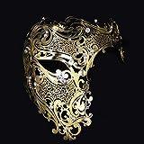 Labu Store Metal Filigree Gold Silver Black Half Skull Laser Cut Venetian Masquerade Party Mask Diamond Cosplay Carnival Costume Ball Masks