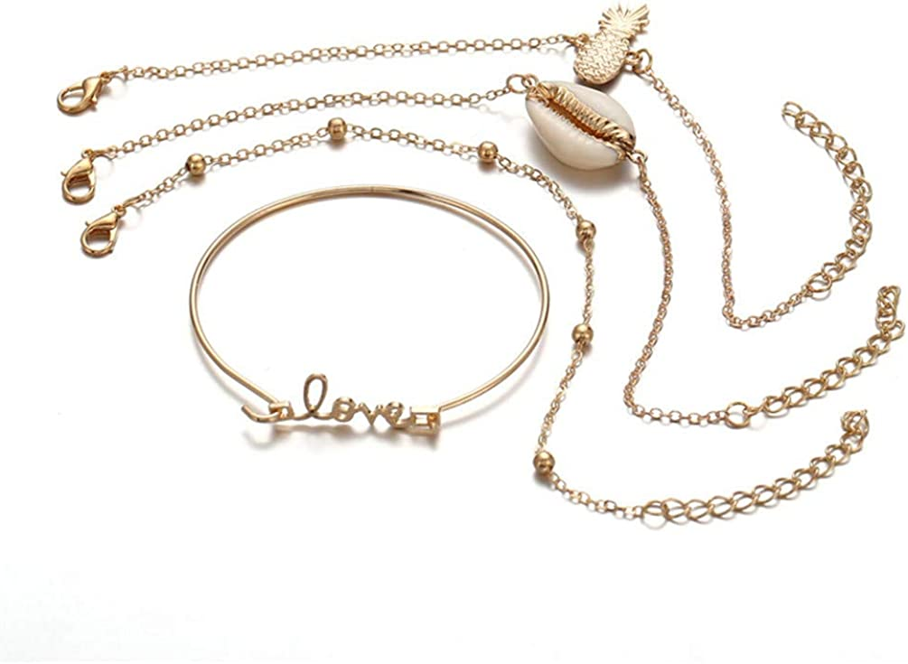 Beautiful Boho Metal Letter Love Shell Pineapple Shaped Bracelet Bangel Sets Women Mens Kid Beach Holiday Jewelry Gold Color