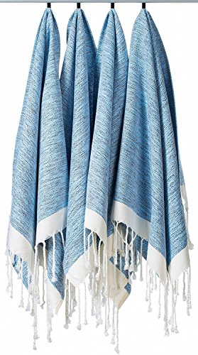 [SET OF 4] Unique Turkish Cotton Peshtemals & Towels - Size (20 x 31) Travel, Bath, Spa, Sauna, Beach, Gym, Pool, Beach, Yoga, Hand, Face - Super Soft Quick Dry and Highly Absorbent Towels, Blue