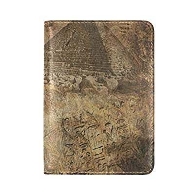 delicate PU Leather Passport Holder Cover Case with Egyptian Pyramid Travel One Pocket