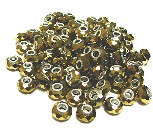 Linpeng CPB-05 Big Hole Beads, Gold, 100 Pack