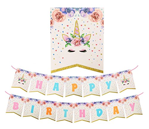 Glitter Unicorn Happy Birthday Bunting Banner Rainbow Unicorn Themed Party Favors Decorations for Birthday Party Supplies (Unicorn)