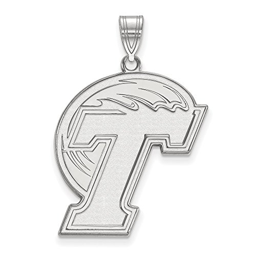 (Jewelry Stores Network Tulane University Green Wave School Letter Logo Pendant in Sterling Silver XL - (27 mm x 23 mm))