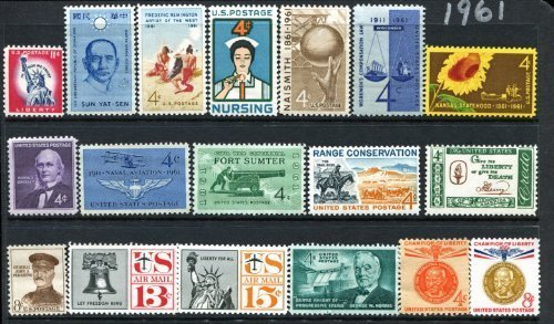(COMPLETE MINT SET OF POSTAGE STAMPS ISSUED IN THE YEAR 1961 BY THE U.S. POST OFFICE DEPT. by Post Office Department)
