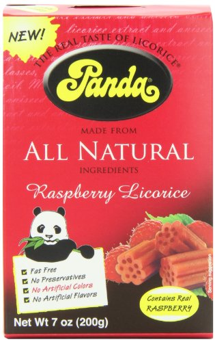 Panda All Natural Licorice Chews Raspberry, 7-Ounce Packages (Pack of 12)