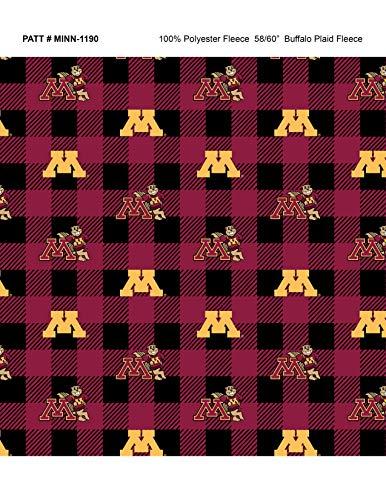 University of Minnesota Fleece Blanket Fabric-Minnesota Gophers Fleece Fabric with Buffalo Plaid Design