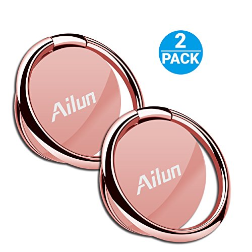 AILUN Phone Ring Stand Holder [2 Pack] Universal 360° Rotation Cellphone Finger Kickstand Grip Compatible iPhone X/8/7/6/6s Plus,Galaxy S9/S9+,s8/s8+ S7/S7 Edge,S6/S6 Edge+ Note 8 and More[Rosegold]
