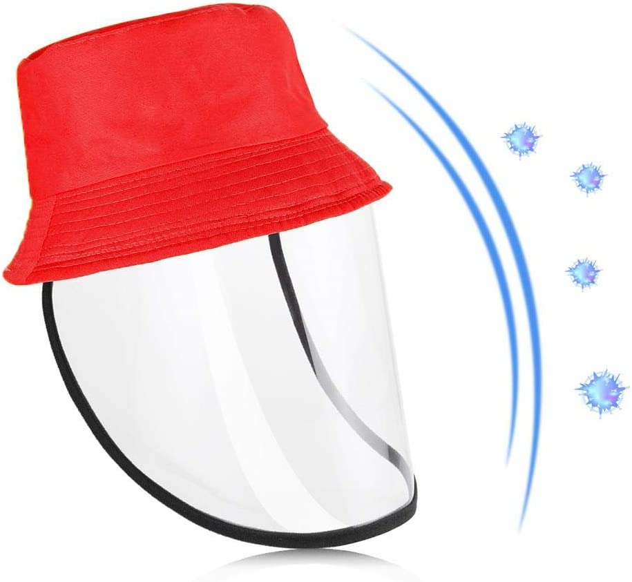 Children Protective Fisherman Hat with Removable Transparent TPU Face Shield Red Windproof Dustproof Face Protecting Hats