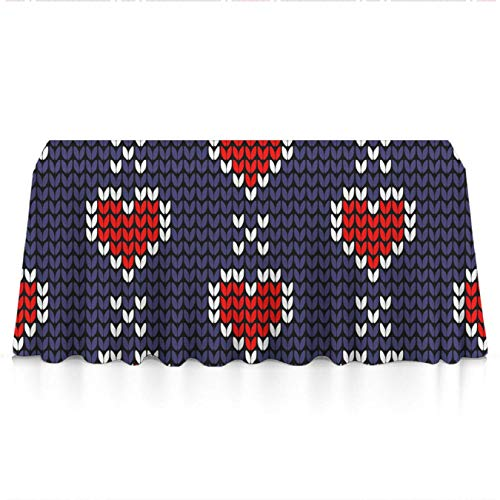 (GLORY ART Valentine - Red Love Heart Knitting Pattern - Water Resistance Rectangle Tablecloth, Wedding/Birthday/Party/Event/Banquet/Restaurant Decor - 60x84 inches Durable Polyester Table Cloth)