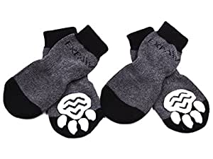 Dog Socks Traction Control Anti-Slip for Hardwood Floor Indoor Wear, Paw Protection Grey