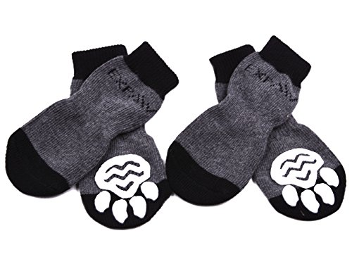 Traction Control (Dog Socks Traction Control Anti-Slip for Hardwood Floor Indoor Wear, Paw Protection Grey)