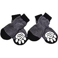 EXPAWLORER Dog Socks Traction Control Anti-Slip for Hardwood Floor Indoor Wear, Paw Protection Grey