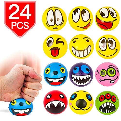 Balls Squeezable (PROLOSO Emoji Stress Balls Squeezable Fidget Toys Stress Relief Party Favors Random Patterns 24 Pcs)