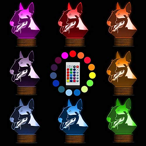Novelty Lamp, Optical Illusion 3D LED Lamp Bull Terrier Night Light, USB Powered Remote Control Changes The Color of The Light, Bedroom Decoration Lighting for Children's, Ambient Ligh by LIX-XYD (Image #1)