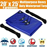20'x25' Heavy Duty Waterproof Tarps - Multi-Purpose Blue Tarpaulin with 4 Grommets, Reinforced Edges and Nylon Paracord for Outdoor Rain Shelter, Ground Cover, Boat, RV or Pool Cover