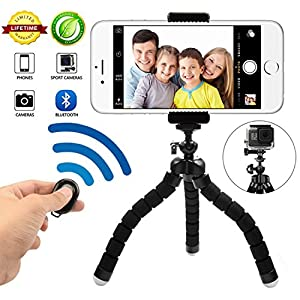Phone Tripod Phone Stand with Bluetooth Camera Remote and Phone Holder for iPhone X 8/8s 7 7 Plus 6s Plus 6s 6 SE Samsung Galaxy S8 Plus S8 Edge S7 Action Camera GoPro/ Akaso more