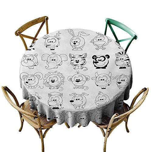(VonGode Polyester Tablecloth Doodle Assortment of Cartoon Style Animals Cat Zebra Girraffe Pig Panda Monkey Animal Fun Great for Buffet Table D35 Black White)