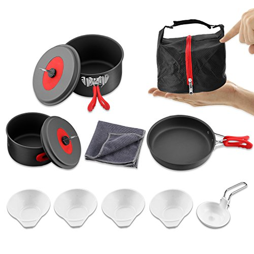 Aluminum Cookset - Andake Camping Cookware Set, Anodized Aluminum Cookset, BPA-FREE Lightweight Durable Folding Mess Kit, Non-stick and Scratch-free for Family Outdoor Camping Hiking Fishing Backpacking Picnic
