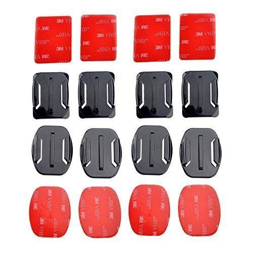 Mondpalast® 8pcs casco Supporti Curvi & piatti Basi + adesivo per Gopro Hero 2 3 3+ 4 8XM