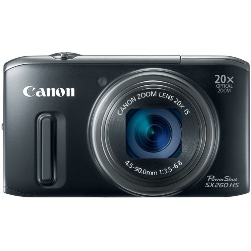 Canon PowerShot SX260 HS 12.1 MP CMOS Digital Camera with 20x Image Stabilized Zoom 25mm Wide-Angle Lens and 1080p Full-HD Video (Black) (OLD MODEL) ()