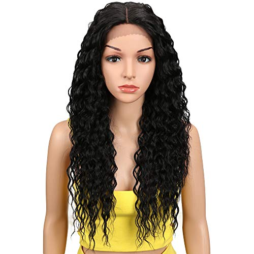 Joedir Lace Front Wigs Ombre Blonde 24 Long Small Curly Wavy Synthetic Wigs For Black Women 130% Density Wigs(1B)
