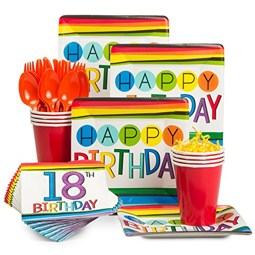 Costume SuperCenter Rainbow 18th Birthday Standard Tableware Kit (Serves 8) ()