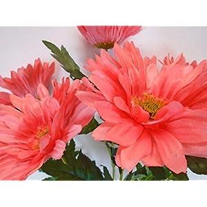 "Phoenix Silk Jumbo Gerbera Daisy 7 Artificial Silk Flowers 21"" Bouquet 205 SALMON 99"