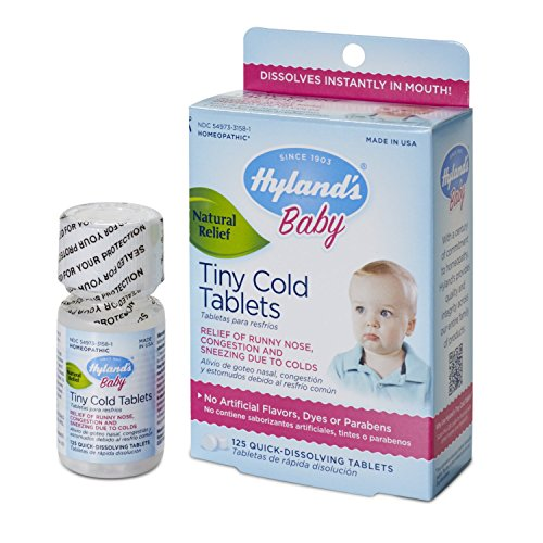 Tiny Nose (Hyland's Baby Cold Relief Dissolving Tablets, Natural Runny Nose and Congestion Relief, 125)