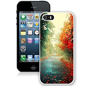 Beautiful Unique Designed iPhone 5S Phone Case With Red Trees Autumn Path_White Phone Case