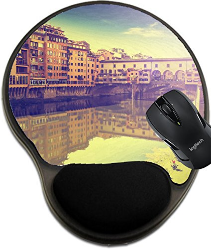 MSD Mousepad Wrist Protected Mouse Pads/Mat with Wrist Support Design 29797672 Postcard from Florence Italy Vintage Retro Effect ()
